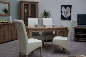 Original Rustic Solid Oak 4'4″ Extending Dining Table