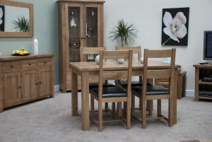 Original Rustic Solid Oak Extending Table & 4 Rustic Oak Chairs