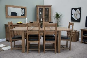 Original Rustic Solid Oak Extending Table & 6 Rustic Oak Chairs