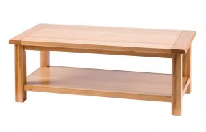 Besp-Oak Vancouver Select Oak Large Rectangular Coffee Table with Shelf