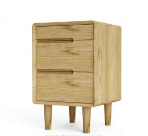 Homestyle Sandic Oak 3 Drawer Bedside Cabinet