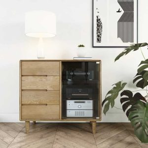 Homestyle Scandic Oak Small Glazed Sideboard
