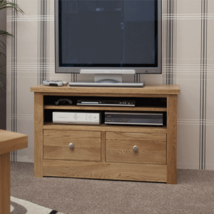 Homestyle Torino Solid Oak Small Plasma Unit with 2 Drawers | Fully Assembled