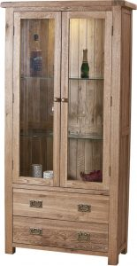 Suffolk Solid Oak Glass Display Cabinet with 2 Doors 2 Drawers | Fully Assembled