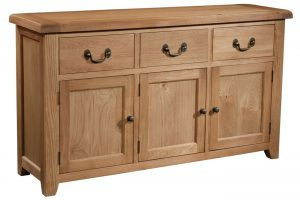 Somerset Waxed Oak 3 Door/3 Drawer Sideboard | Fully Assembled