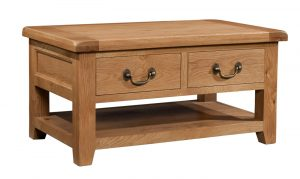 Somerset Waxed Oak Coffee Table with 2 Drawers | Fully Assembled