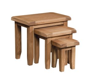 Somerset Waxed Oak Nest of Tables | Fully Assembled