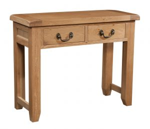 Somerset Waxed Oak Console Table With 2 Drawers