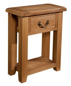 Somerset Waxed Oak Small Console Table with 1 Drawer | Fully Assembled