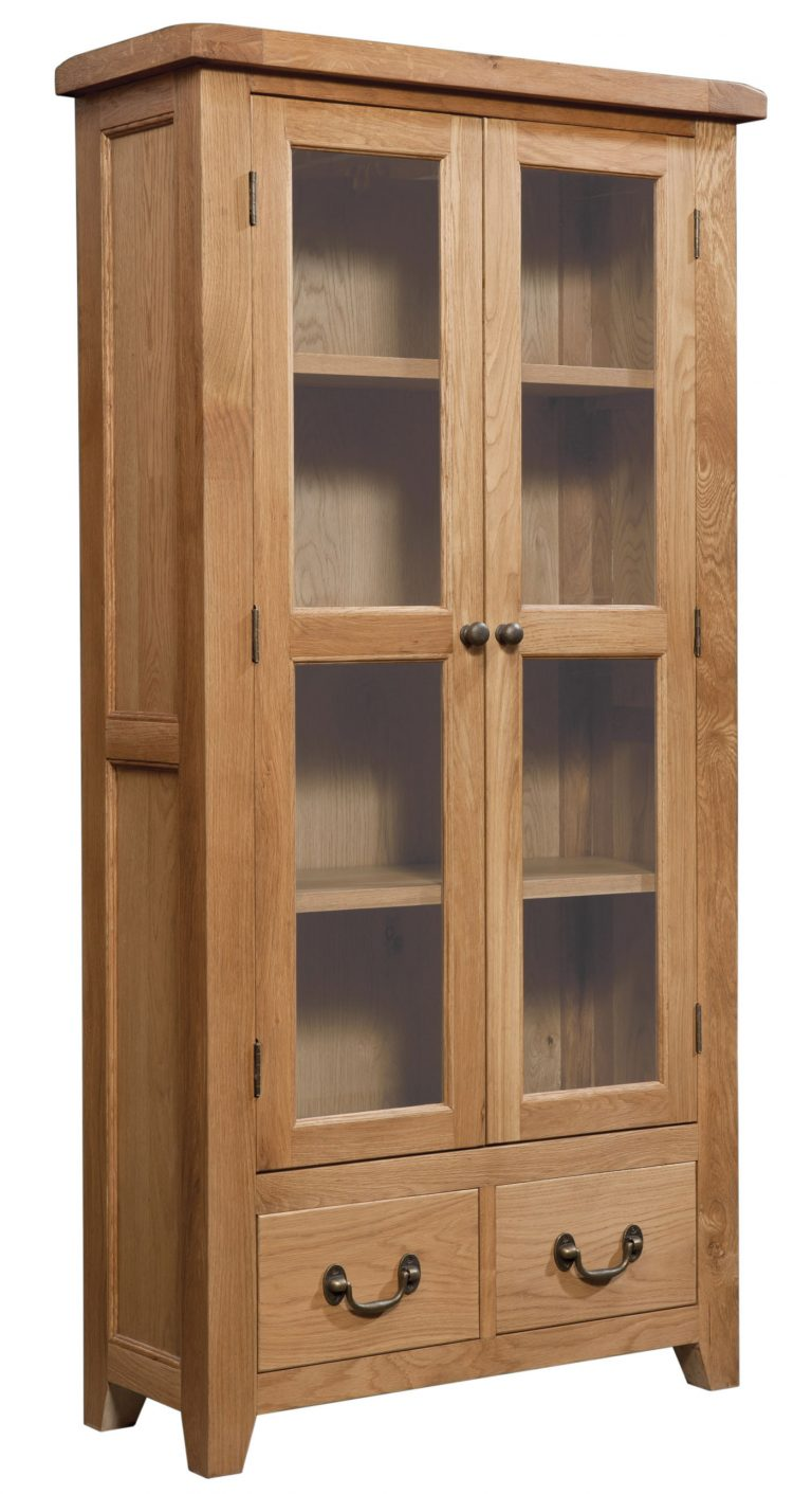Somerset Waxed Oak Display Cabinet | Fully Assembled