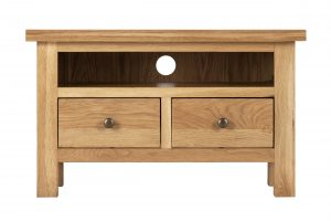 Besp-Oak Vancouver Compact TV Unit with 2 Drawers | Fully Assembled