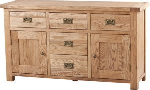 Suffolk Solid Oak 4'6″ Sideboard with 5 Drawers 2 Doors | Fully Assembled