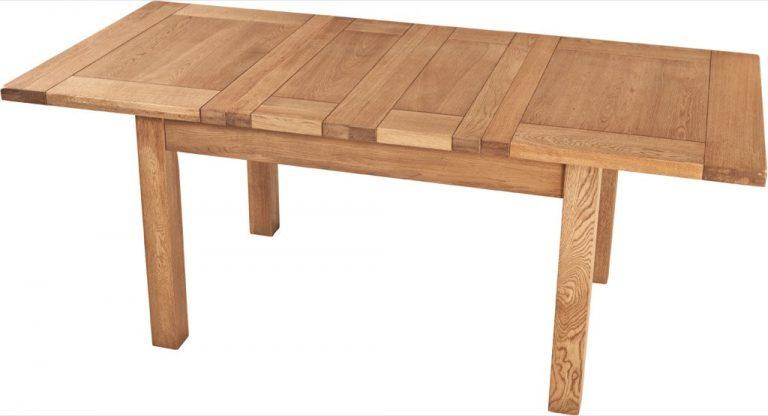 Suffolk Solid Oak 4'6″ Extending Dining Table (2 Leaf)