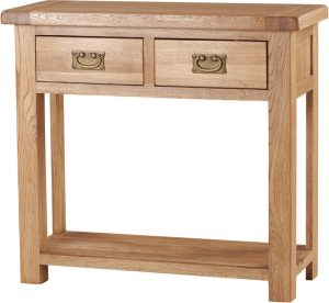 Suffolk Solid Oak 2 Drawer Console Hall Table