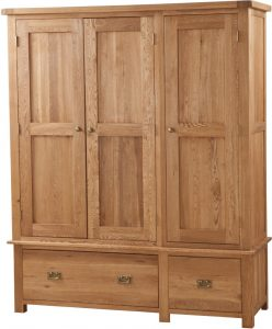 Suffolk Solid Oak Triple Wardrobe with Drawers