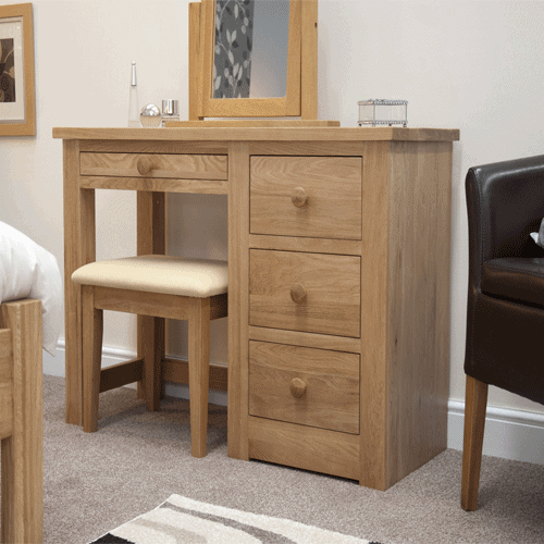 Homestyle Torino Solid Oak Single Pedestal Dressing Table and Stool | Fully Assembled