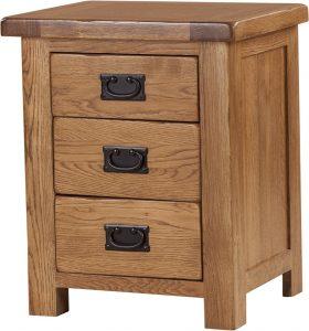 Rustic Oak 3 Drawer Bedside Cabinet | Fully Assembled