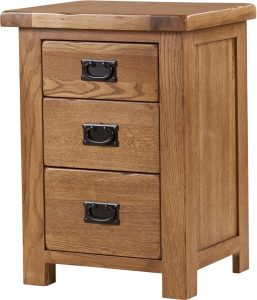 Country Rustic Oak 3 Drawer High Bedside Cabinet | Fully Assembled