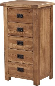 Country Rustic Oak 5 Drawer Wellington Chest | Fully Assembled
