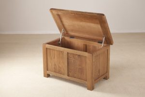 Country Rustic Oak Small Blanket Box | Fully Assembled