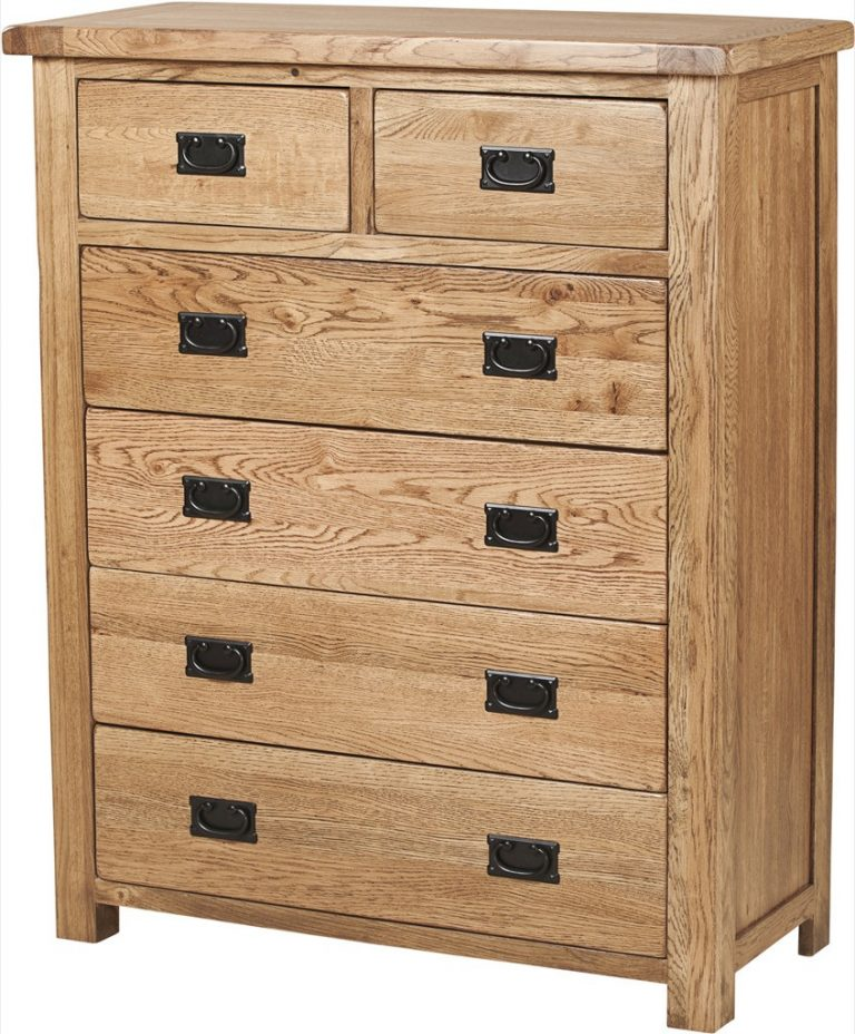 Country Rustic Oak 2 over 4 Drawer Chest   Fully Assembled