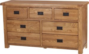 Country Rustic Oak 3 over 4 Drawer Chest | Fully Assembled