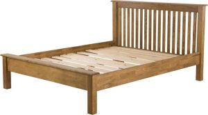 Country Rustic Oak 4'6″ Double Low Foot End Bed
