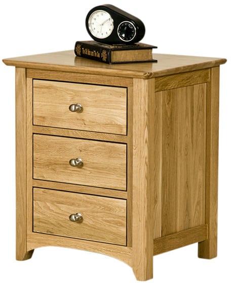 Cambridge Solid Oak 3 Drawer Bedside Cabinet | Fully Assembled