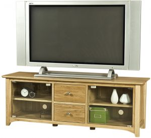 Cambridge Solid Oak Large TV Unit with Glass Doors | Fully Assembled