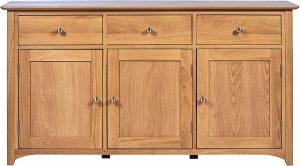 Cambridge Solid Oak 3 Drawer & 3 Door Large Sideboard | Fully Assembled