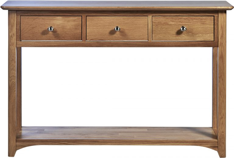 Cambridge Solid Oak Console Table with 3 Drawers & Shelf   Fully Assembled