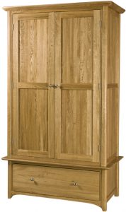 Cambridge Solid Oak 1 Drawer  2 Door Wardrobe