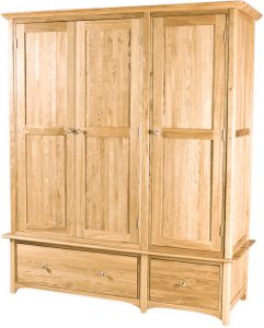 Cambridge Solid Oak 3 Door Triple Wardrobe with Drawers