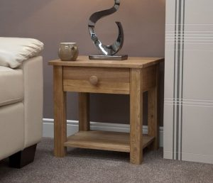 Homestyle Torino Solid Oak Lamp Table with 1 Drawer | Fully Assembled