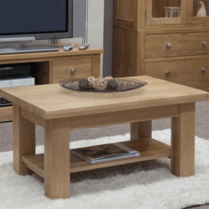 Homestyle Opus Solid Oak 3′ x 2′ Coffee Table with Shelf