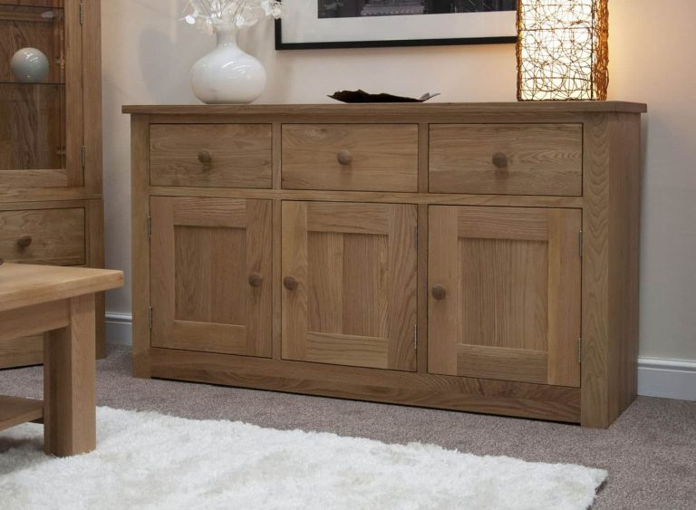 Homestyle Torino Solid Oak Large Sideboard 3 Drawers 3 Doors | Fully Assembled