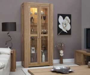 Homestyle Trend Solid Oak 2 Door Glass Display Cabinet | Fully Assembled