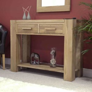Homestyle Trend Solid Oak 2 Drawer Hall/Console Table with Shelf