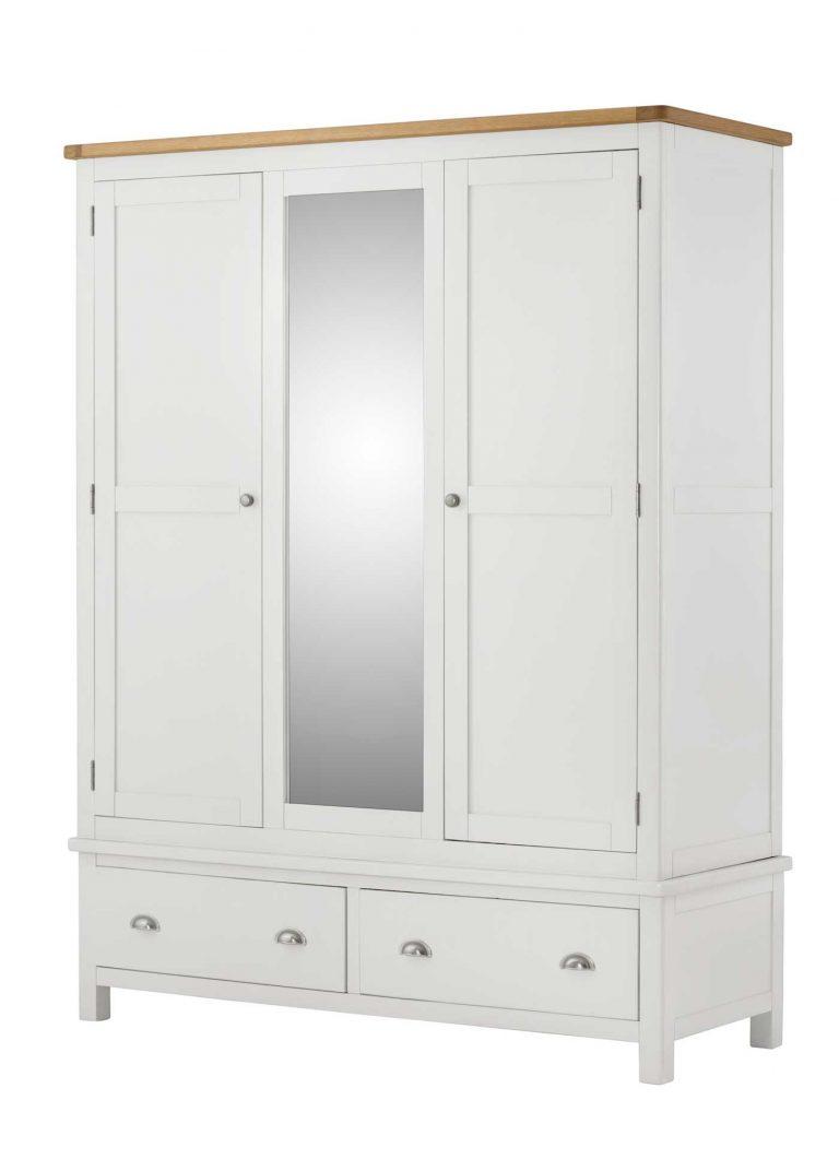 Classic Portland Painted White Triple Wardrobe