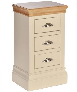 Lundy Painted Ivory With Oak Top  3 Drawer Compact Bedside Cabinet | Fully Assembled