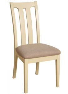 Lundy Painted Ivory With Oak Top  Slat Back Dining Chair (Pair) | Fully Assembled