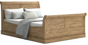 Versailles French Oak 4'6″ Double Sleigh Bedstead