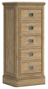 Versailles French Oak 5 Drawer Tall Wellington Chest | Fully Assembled