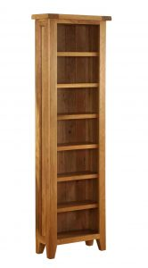 Besp-Oak Vancouver Oak CD/DVD Tall Narrow Bookcase with Adjustable Shelves | Fully Assembled