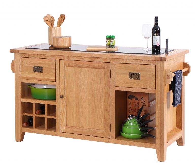Besp-Oak Vancouver Oak Granite Top Kitchen Island | Fully Assembled