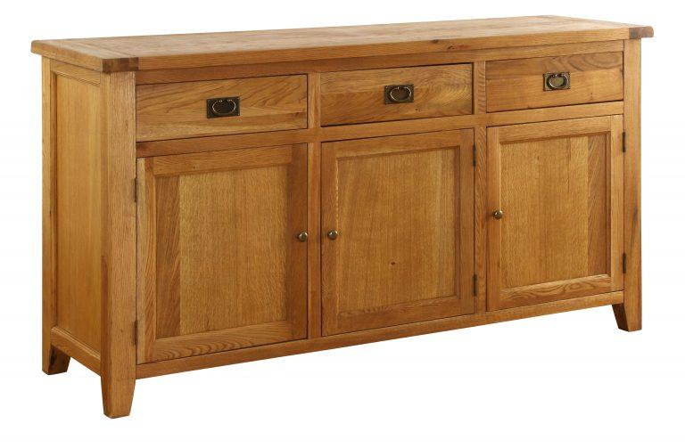 Besp-Oak Vancouver Oak 3 Drawer 3 Door Buffet Sideboard | Fully Assembled