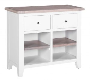 Besp-Oak Vancouver Chalked Oak & Pure White Sideboard with 2 Drawers & 2 Shelves
