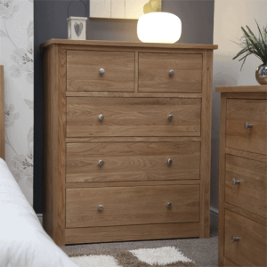 Homestyle Torino Solid Oak Wide 2 Over 3 Drawer Chest | Fully Assembled
