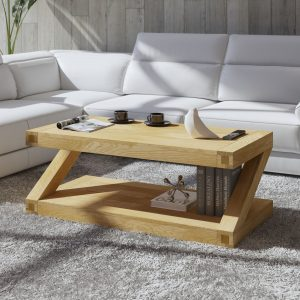 Homestyle Z Solid Oak 4′ x 2′ Coffee Table | Fully Assembled