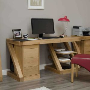 Homestyle Z Solid Oak Large Computer/ Desk | Fully Assembled
